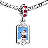 Charms Beads - red crystal dangle cute siam christmas santa Image.