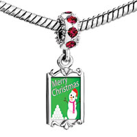 Charms Beads - red crystal dangle merry christmas snowman Image.