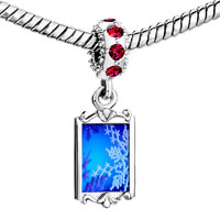 Charms Beads - red crystal dangle blue christmas snowflake Image.
