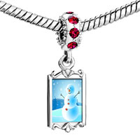 Charms Beads - red crystal dangle cute pale blue christmas snowman Image.