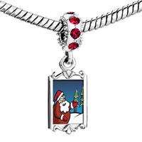 Charms Beads - red crystal dangle kind christmas santa tree Image.