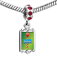 Charms Beads - red crystal dangle christmas cy cane Image.