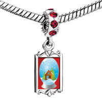 Charms Beads - red crystal dangle snow christmas cabin in ball shape Image.