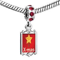 Charms Beads - red crystal dangle xmas star Image.