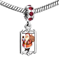 Charms Beads - red crystal dangle christmas santa carrying gifts Image.