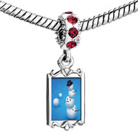 Charms Beads - red crystal dangle cute accumulation the snowman Image.