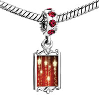 Charms Beads - red crystal dangle christmas shinning star Image.