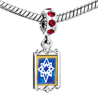 Charms Beads - red crystal dangle jewish stars Image.