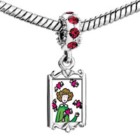 Charms Beads - red crystal dangle girl a pink hearts Image.