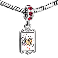 Charms Beads - red crystal dangle cute bird send love letter Image.