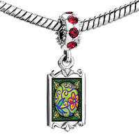 Charms Beads - red crystal dangle art flower Image.