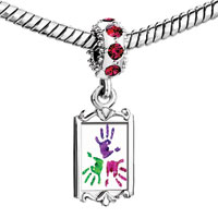 Charms Beads - red crystal dangle triple colors hprints Image.