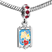 Charms Beads - red crystal dangle couple love birds Image.