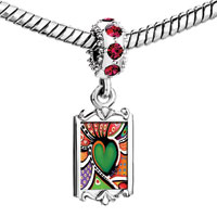 Charms Beads - red crystal dangle colorful art heart Image.