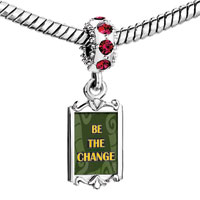Charms Beads - red crystal dangle be the change Image.