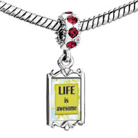 Charms Beads - red crystal dangle life is awesome Image.
