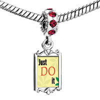 Charms Beads - red crystal dangle just do it Image.