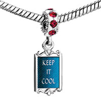 Charms Beads - red crystal dangle keep it cool Image.