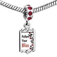 Charms Beads - red crystal dangle follow your bliss Image.
