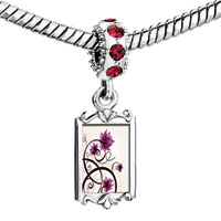 Charms Beads - red crystal dangle beautiful flower Image.