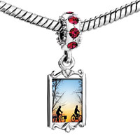 Charms Beads - red crystal dangle riding bike couple Image.