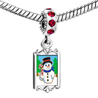 Charms Beads - red crystal dangle snowman in woods Image.