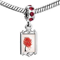 Charms Beads - red crystal dangle lovely heart tree Image.
