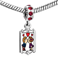 Charms Beads - red crystal dangle kissing boy girl Image.