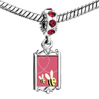 Charms Beads - red crystal dangle love bee couple Image.