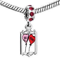 Charms Beads - red crystal dangle pink heart be mine Image.