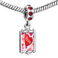 Charms Beads - red crystal dangle love heart balloon Image.