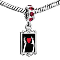 Charms Beads - red crystal dangle hs holding heart Image.