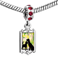 Charms Beads - red crystal dangle love dogs Image.