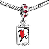Charms Beads - red crystal dangle l love u gesture Image.
