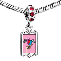 Charms Beads - red crystal dangle wing heart Image.