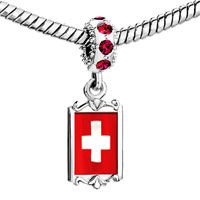 Charms Beads - red crystal dangle flag switzerl Image.