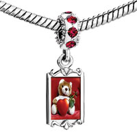 Charms Beads - red crystal dangle cute bear Image.