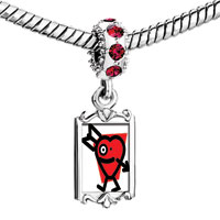 Charms Beads - red crystal dangle cupid arrow heart Image.