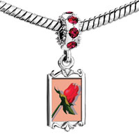 Charms Beads - red crystal dangle love rose Image.