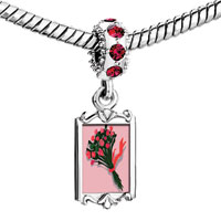Charms Beads - red crystal dangle rose bouquet Image.