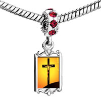 Charms Beads - red crystal dangle jesus on the cross Image.