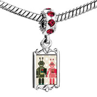 Charms Beads - red crystal dangle cute robot couple love Image.