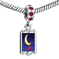 Charms Beads - red crystal dangle cute yellow moon heart love Image.