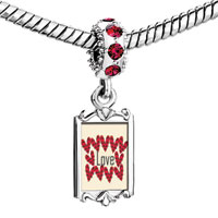 Charms Beads - red crystal dangle hearts sur love Image.