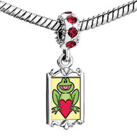Charms Beads - red crystal dangle cute frog holding heart Image.