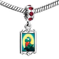 Charms Beads - red crystal dangle dinosaur heart Image.