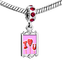 Charms Beads - red crystal dangle i love you lollipop Image.