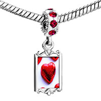 Charms Beads - red crystal dangle wrapped heart cy Image.