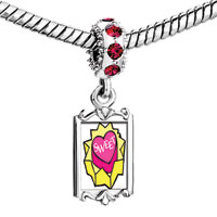 Charms Beads - red crystal dangle unfolded gift sweet heart box Image.
