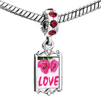 Charms Beads - red crystal dangle pink roses love Image.